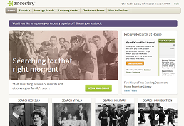 Screenshot of Ancestry Library Edition
