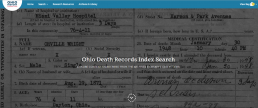 Ohio Death Records Index Search screenshot
